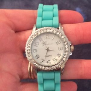 Teal silicone banded watch